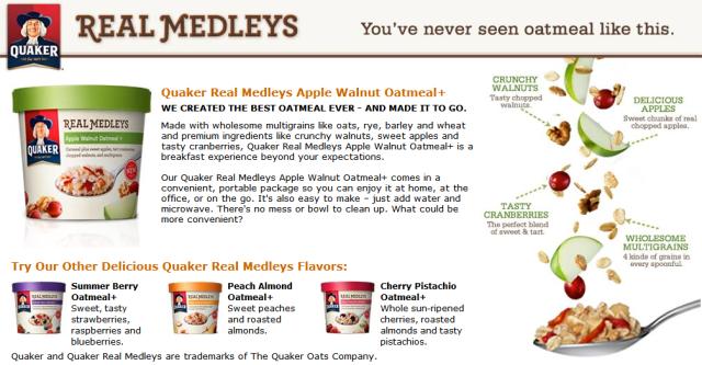 Quaker Real Medleys Apple Walnut Oatmeal